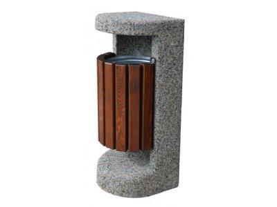 Kosz betonowo-drewniany z daszkiem
