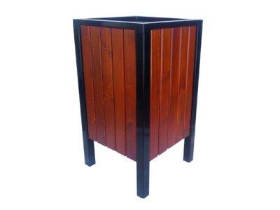 Kosz stalowo-drewniany na śmieci